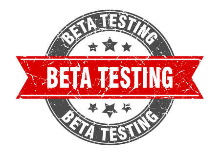 beta testing round stamp with red ribbon. beta testing