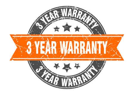 3 year warranty round stamp with orange ribbon. 3 year warranty