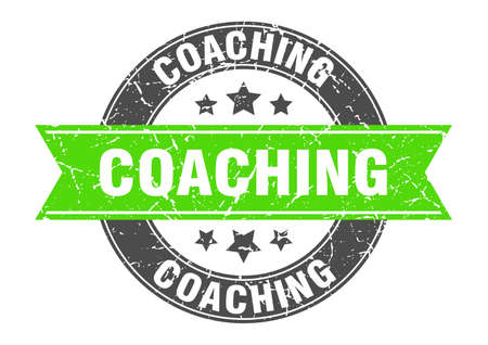 coaching round stamp with green ribbon. coaching