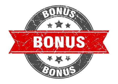 bonus round stamp with red ribbon. bonus