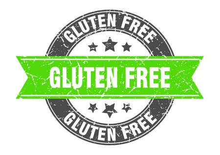 gluten free round stamp with green ribbon. gluten free