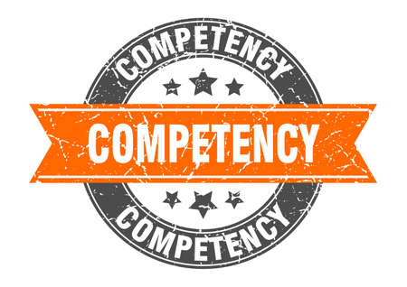 competency round stamp with orange ribbon. competency