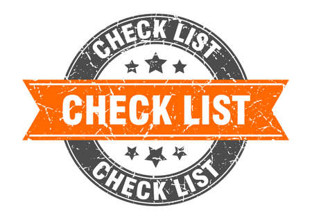 check list round stamp with orange ribbon. check list Иллюстрация