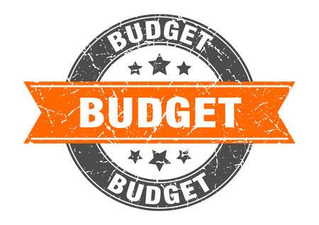 budget round stamp with orange ribbon. budget