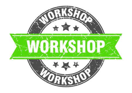 workshop round stamp with green ribbon. workshop