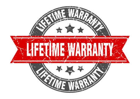 lifetime warranty round stamp with red ribbon. lifetime warranty