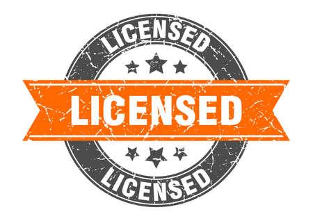 licensed round stamp with orange ribbon. licensed