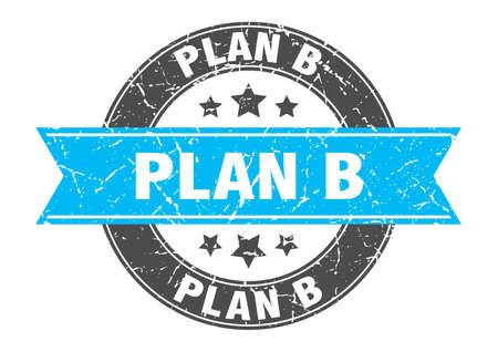 plan b round stamp with turquoise ribbon. plan b Illustration