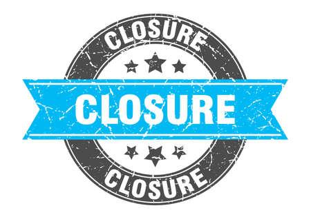 closure round stamp with turquoise ribbon. closure