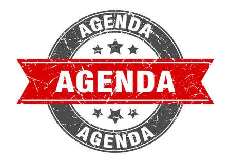 agenda round stamp with red ribbon. agenda Иллюстрация