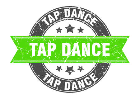 tap dance round stamp with green ribbon. tap dance Иллюстрация