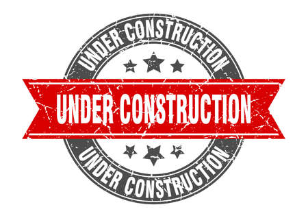 under construction round stamp with red ribbon. under construction Иллюстрация