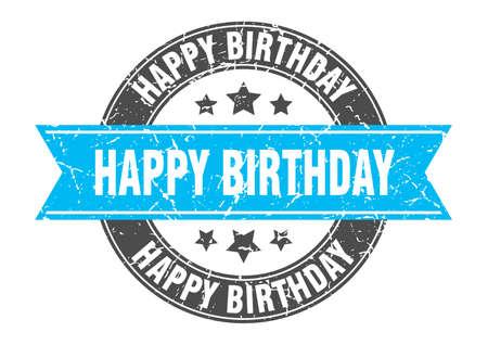 happy birthday round stamp with turquoise ribbon. happy birthday Иллюстрация