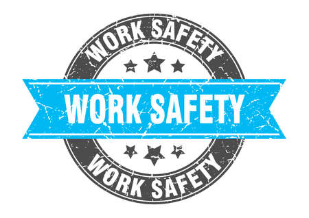 work safety round stamp with turquoise ribbon. work safety Иллюстрация