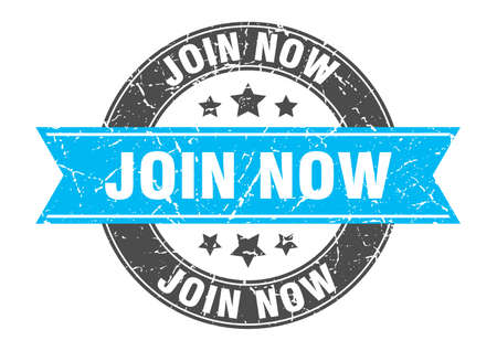 join now round stamp with turquoise ribbon. join now