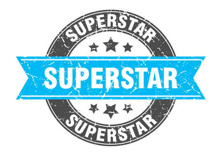 superstar round stamp with turquoise ribbon. superstar