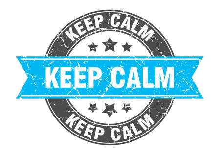 keep calm round stamp with turquoise ribbon. keep calm Иллюстрация