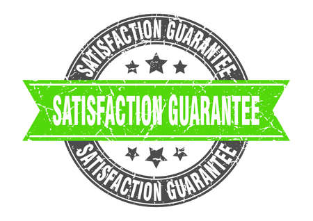 satisfaction guarantee round stamp with green ribbon. satisfaction guarantee Иллюстрация