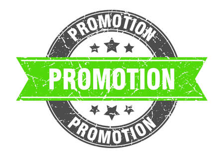 promotion round stamp with green ribbon. promotion