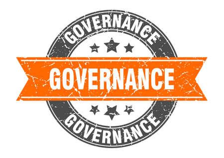 governance round stamp with orange ribbon. governance