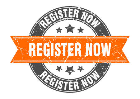 register now round stamp with orange ribbon. register now
