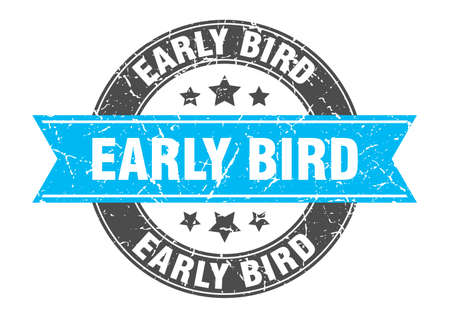 early bird round stamp with turquoise ribbon. early bird Иллюстрация