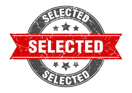 selected round stamp with red ribbon. selected