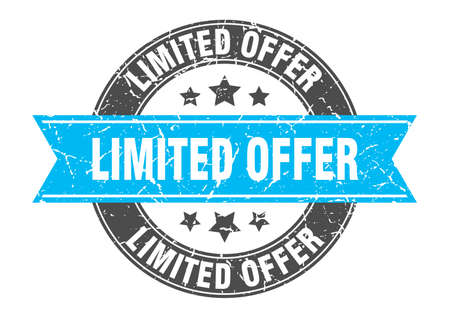 limited offer round stamp with turquoise ribbon. limited offer
