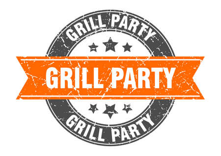 grill party round stamp with orange ribbon. grill party