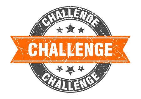 challenge round stamp with orange ribbon. challenge