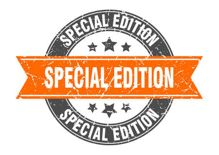 special edition round stamp with orange ribbon. special edition