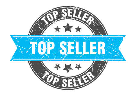 top seller round stamp with turquoise ribbon. top seller