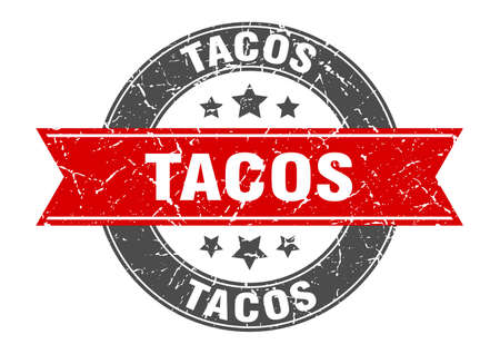 tacos round stamp with red ribbon. tacos Иллюстрация