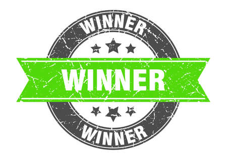 winner round stamp with green ribbon. winner Иллюстрация