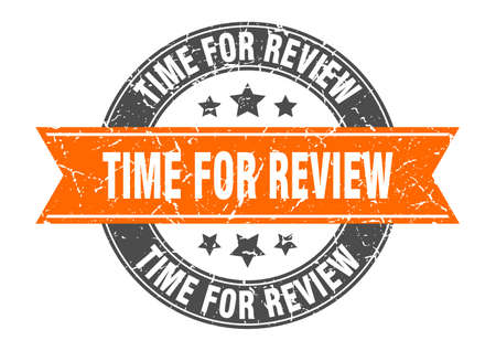 time for review round stamp with orange ribbon. time for review Иллюстрация
