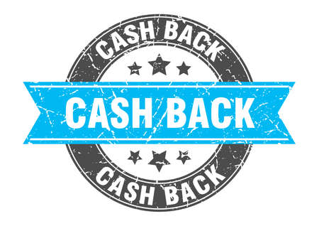 cash back round stamp with turquoise ribbon. cash back