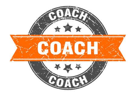coach round stamp with orange ribbon. coach