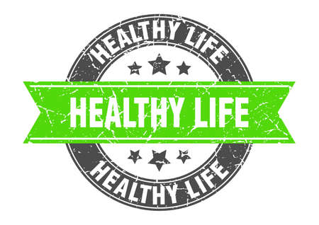 healthy life round stamp with green ribbon. healthy life