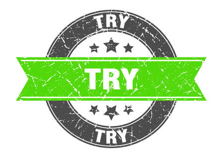try round stamp with green ribbon. try
