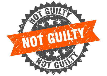 not guilty grunge stamp with orange band. not guilty