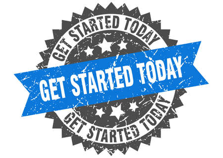 get started today grunge stamp with blue band. get started today Vecteurs