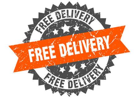 timbre grunge de livraison gratuite avec bande orange. livraison gratuite Vecteurs