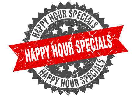 happy hour specials grunge stamp with red band. happy hour specials