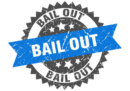 bail out grunge stamp with blue band. bail out
