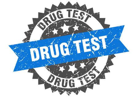 drug test grunge stamp with blue band. drug test