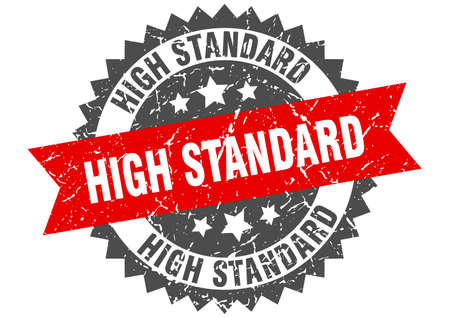 high standard grunge stamp with red band. high standard