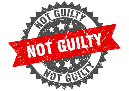 not guilty grunge stamp with red band. not guilty