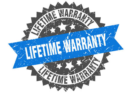 lifetime warranty grunge stamp with blue band. lifetime warranty