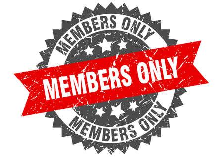 membres seulement timbre grunge avec bande rouge. membres seulement