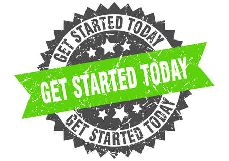 get started today grunge stamp with green band. get started today